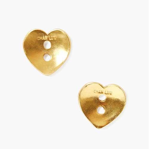 ゴールド ハート型ボタン ピアス